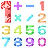 Set of numbers with radiant pattern Stock Image