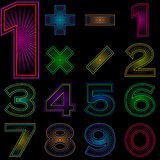 Set of numbers with radiant pattern Royalty Free Stock Photos