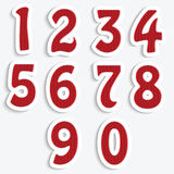 The set of numbers with a red knit pattern. Numbers  on white background Stock Image