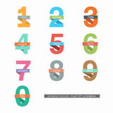 Set of Numbers 0-9 with Ribbons. Vector Set of Flat Design Numbers 0-9 with Ribbons Stock Photos