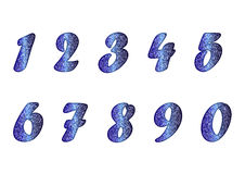 Set of numbers in sapphire tones Stock Photography