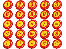 Set of numbers and signs Stock Image