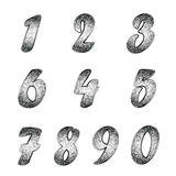Set of numbers with silver nielloed effect. Stock Photos
