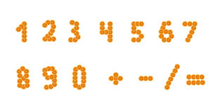 A set of numbers a slice of orange Royalty Free Stock Photos