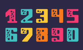 Set of numbers with stars for design and decoration Stock Image