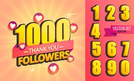 Set of numbers for Thank you followers Design. Set of numbers for Thanks followers design.Thank you followers congratulation card. Vector illustration for Vector Illustration