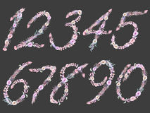 Set of numbers of watercolor pink and purple flowers, isolated hand drawn on a dark background. Wedding design, english capital letters for the festive and Royalty Free Stock Image