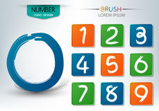 Set of numbers written with a brush style  Royalty Free Stock Photos