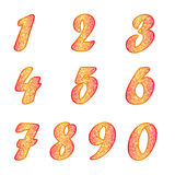 Set of numbers in yellow-red colors Royalty Free Stock Photo