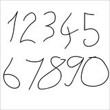 Set of numeric font numbers for abstract art. Isolated on white background Stock Photography