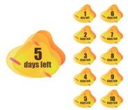 Set numerowi dni opuszczać ilustracja wektor