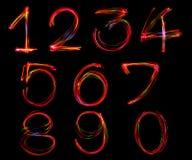 Set numerowy writing od światła Obrazy Royalty Free