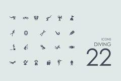 Set nurkowe ikony Zdjęcie Stock