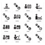 Set of Nurse, Firefighter, Pilot, Waiter, Policeman, Sailor, Courier, Librarian, Driver icons. Set Of 16 simple  icons such as Nurse, Firefighter, Musician Stock Photos