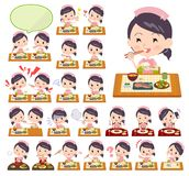 Nurse wear women_Meal. A set of nurse women about meals.Japanese and Chinese cuisine, Western style dishes and so on.It`s vector art so it`s easy to edit stock illustration