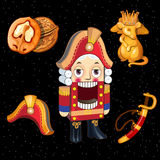 Set Nutcracker toy and accessories for it, 5 icons Stock Photos