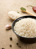 Set of nutrition and rice on wood Royalty Free Stock Images