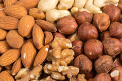 Set of nuts in basket Stock Photo