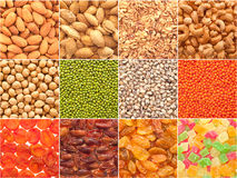 Set of nuts, beans and dried fruit. Stock Photo