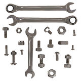 Set of Nuts, Bolts and Wrenches Stock Photos