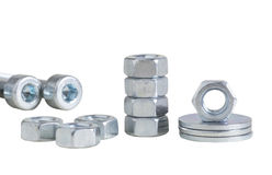 Set of nuts. Set of chrome metallic nuts. fasteners. screed. tool stock photos