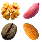 Set of nuts and coffee grain. Set of nuts on the white background (isolated) and coffee grain Stock Photo