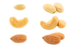 Set of nuts isolated on white background Royalty Free Stock Photography