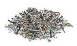 Set of nuts, screws, bolts, screws, washers Royalty Free Stock Images