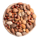 Set of nuts in wicker Royalty Free Stock Image