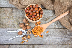 Set of nuts on wooden table: hazelnuts, almonds and walnuts Stock Photography