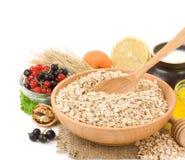 Set of oat flake isolated on white. Background Royalty Free Stock Image