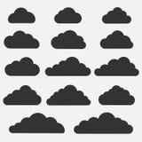 Set obłoczne ikony na popielatym tle Kolekcja różne obłoczne ikony Obraz Stock