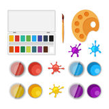 Set of objects for artists in flat style Royalty Free Stock Photo
