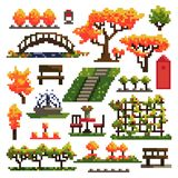 Set of objects for autumn park isolated on white background. Landscaping. Pixel art. Vector illustration vector illustration