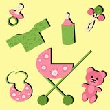 Set with objects for baby. On yellow Stock Image