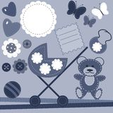 set with objects for baby birthday Royalty Free Stock Photos