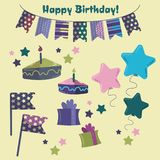 Set of objects for the birthday royalty free illustration