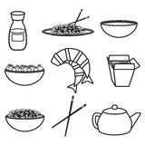Set of objects on chinese cuisine theme Royalty Free Stock Photo