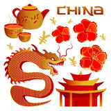 Set of objects the Chinese tradition elements. Chinese theme icon set. Vector illustration Royalty Free Stock Photo