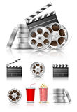 Set of objects for cinematography. Clapper and film tape  illustration isolated on white background Stock Photo