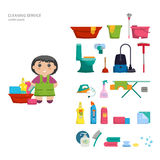 Set of objects for cleaning the house. Royalty Free Stock Photos