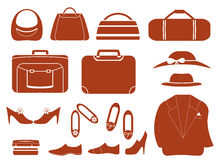 Set objects - clothes, bags and shoes Royalty Free Stock Image