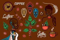 A set of objects on a coffee theme in Ethiopia. Women, coffee cups, coffee branches, coffee beans, berries, traditional masks, let. Tering. Vector illustration royalty free illustration