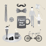 Set of objects constituting holiday fathers, men, gentlemen Stock Images
