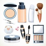 Set of objects cosmetics cream,eye shadow, face powder, brush Royalty Free Stock Photos