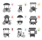 Set of stylized illustrations of various promotional and sales objects. Set of objects for external usage such as promo displays, movable stalls, kiosks and vector illustration