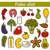 Set of objects in hand drawn style on paleo diet. Theme: meat, fish, fruits, vegetables, spices, nuts. Healthy food concept for your design Stock Images