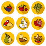 Set of objects in hand drawn style on paleo diet Royalty Free Stock Images