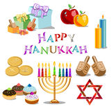 Set of objects for Hanukkah. Set of objects without gradients for Festival of Lights, Feast of Dedication Hanukkah isolated on white background. Vector Royalty Free Stock Photos