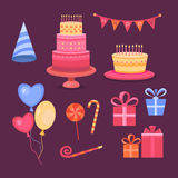 Set of objects Happy Birthday. Set of objects on the theme of the birthday celebration. Collection party icons. Vector symbols: cake, balloons, candy, gifts and Royalty Free Stock Photo